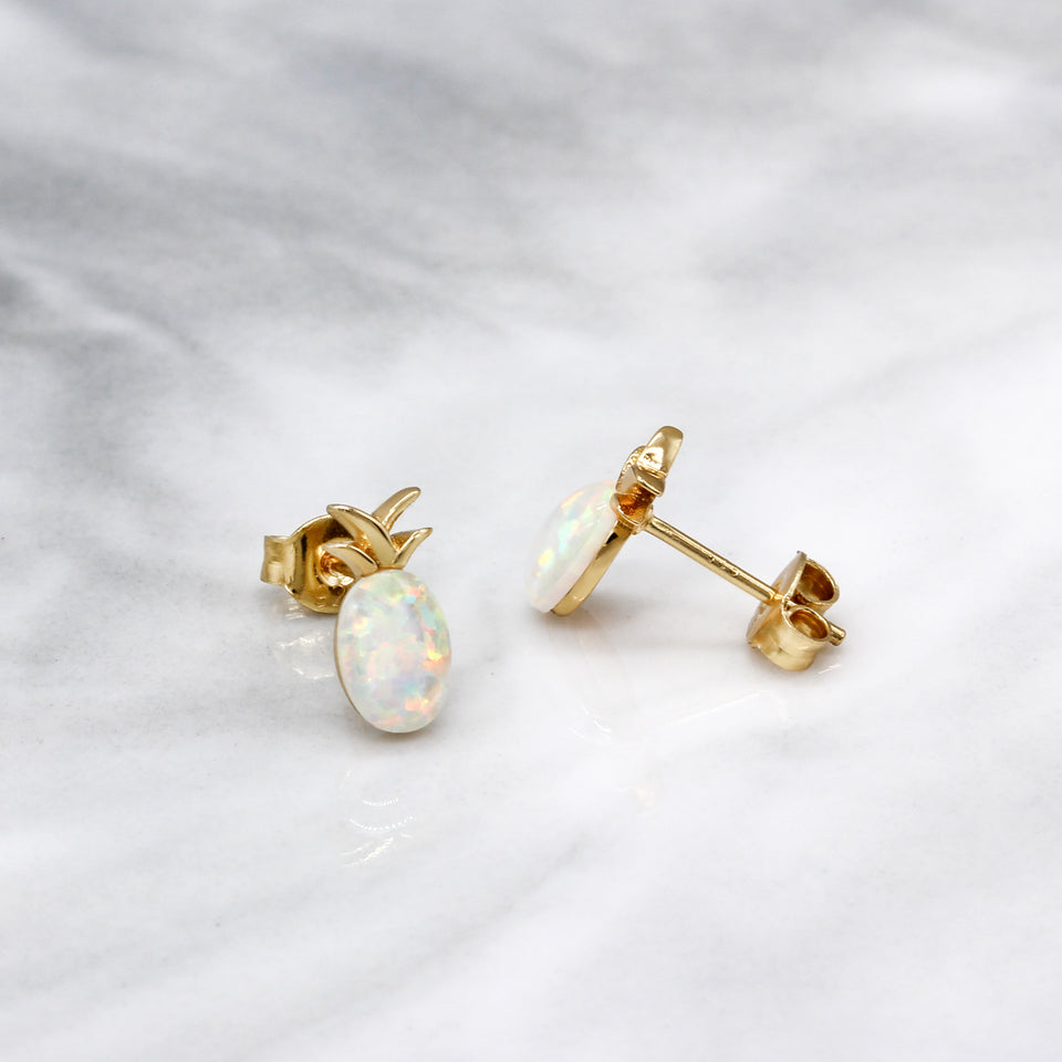 Pineapple Opal Stud Earrings