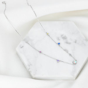 Multi Gemstone Opal Station Necklace