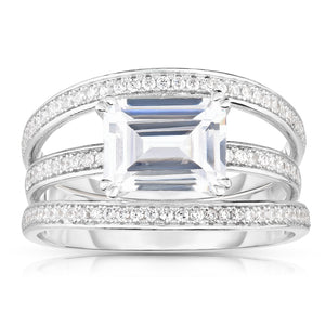 Solitaire Emerald-Cut Diamond Simulant CZ Sterling Silver Engagement Ring - Spoil Cupid