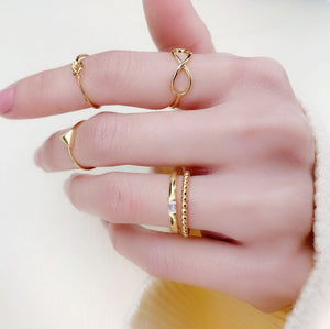 Gold Beaded Midi Ring