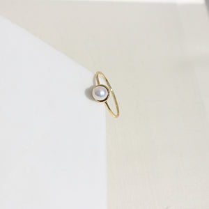 Solitarie Pearl Midi Thin Ring - Spoil Cupid Jewelry