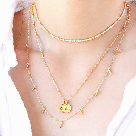 Tennis Choker Layered Necklace