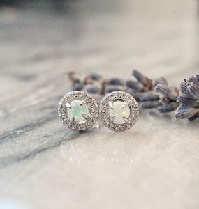 Halo Opal Earrings - Spoil Cupid Jewelry