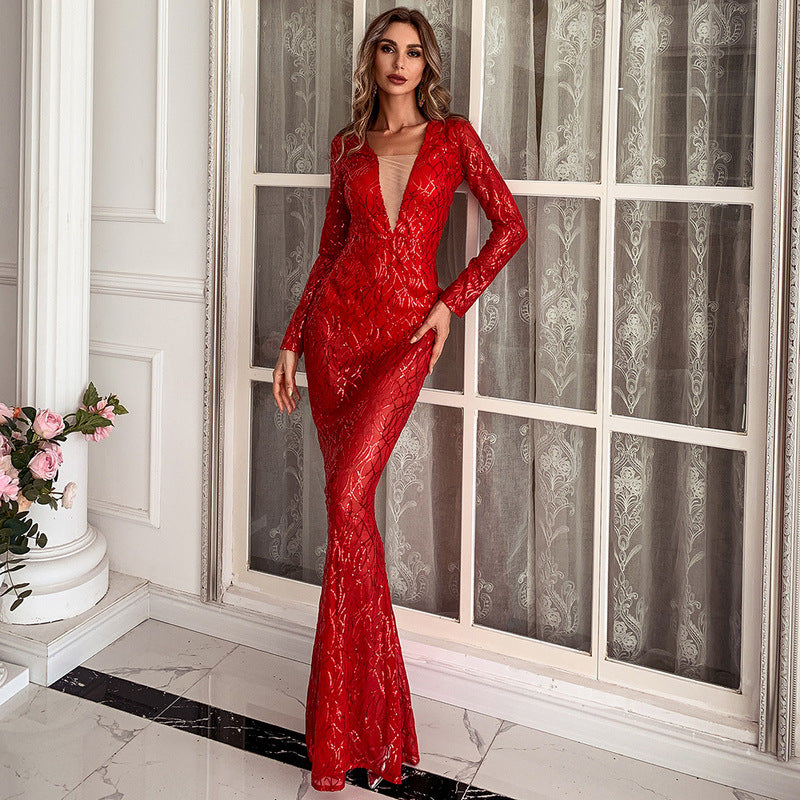 Deep Plunge Sequin Gown