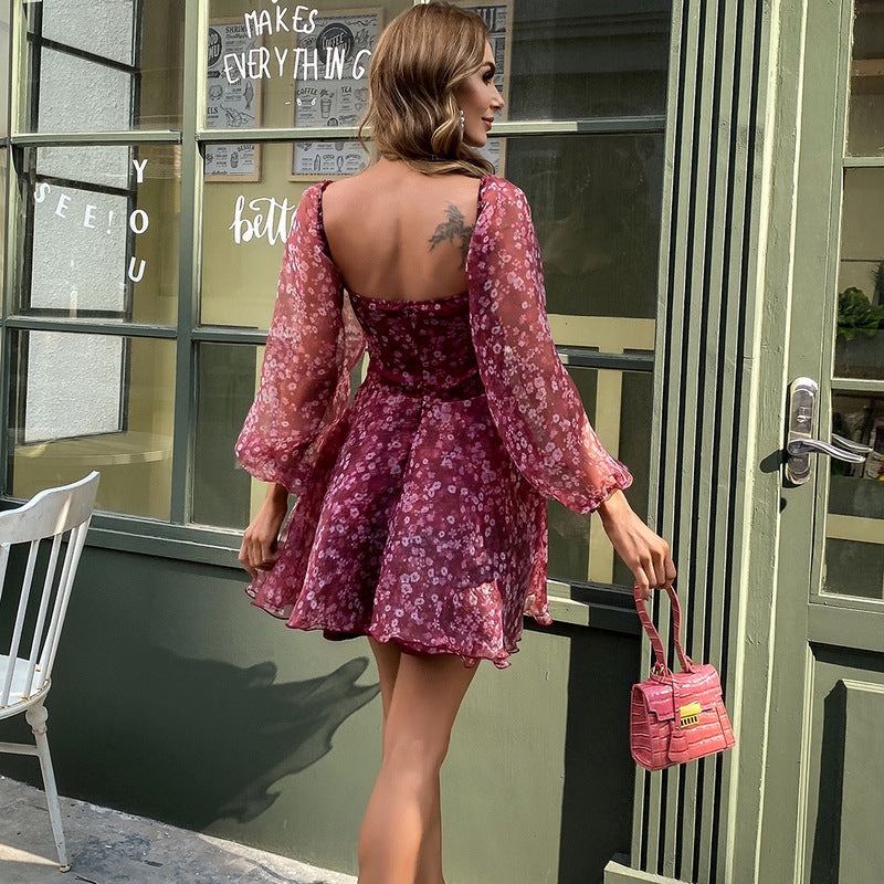 Red Floral Square Neck Party Dress