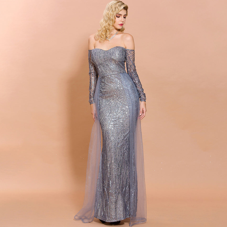 Silver Sequin Tulle Off Shoulder Gown