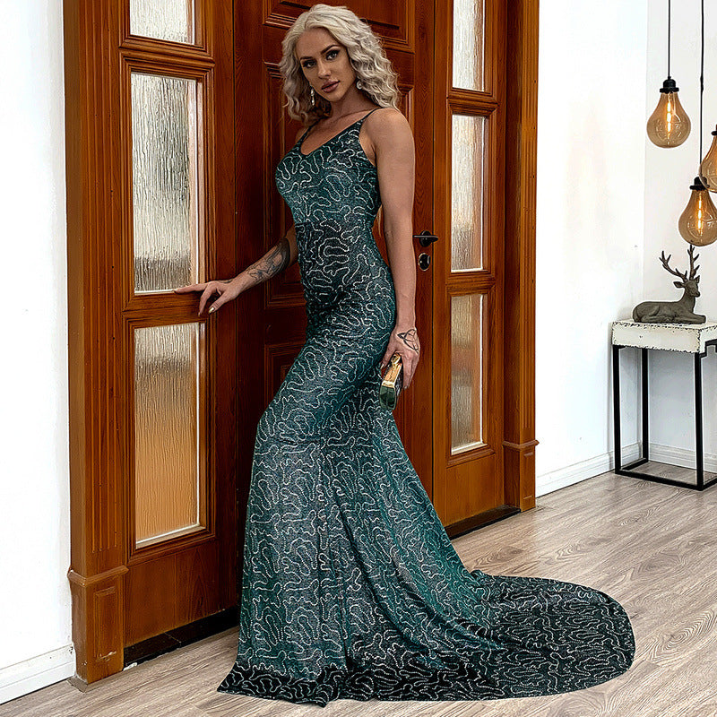 Green Pattern Sequin Train Gown