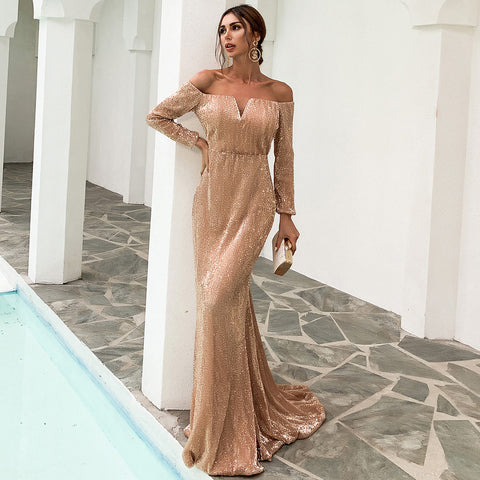 Off Shoulder Sequin Gown