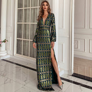Green Sequin Art Formal Gown