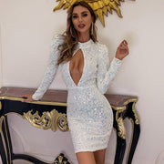 White Sexy Sequin Party Dress