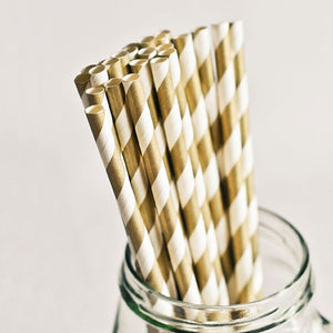"Gold Striped Paper Straws | Standard 6x197mm 0.24"" x 7.75"""