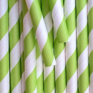 "Paper Smoothie Straws | Green & White Striped 10x197mm 0.4"" x 7.75"""