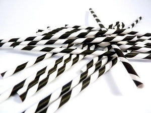 "Black & White Striped Paper Straws | Standard 6x197mm 0.24"" x 7.75"""