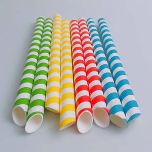 "Boba Bubble Tea Paper Straws | Green & White Striped 12x210mm 0.47"" x 7.75"""