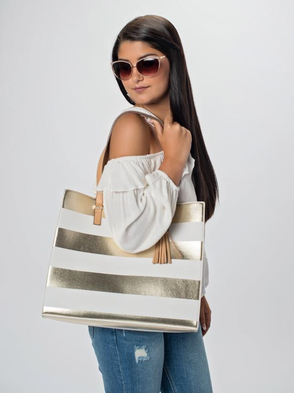 Metalic gold and white tote