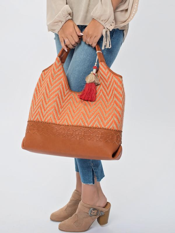 Chevron Shoulder bag-orange
