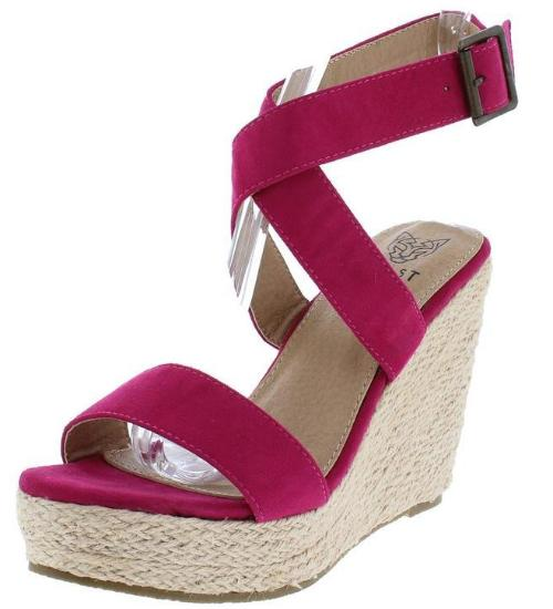 Fuchsia cross back wedge