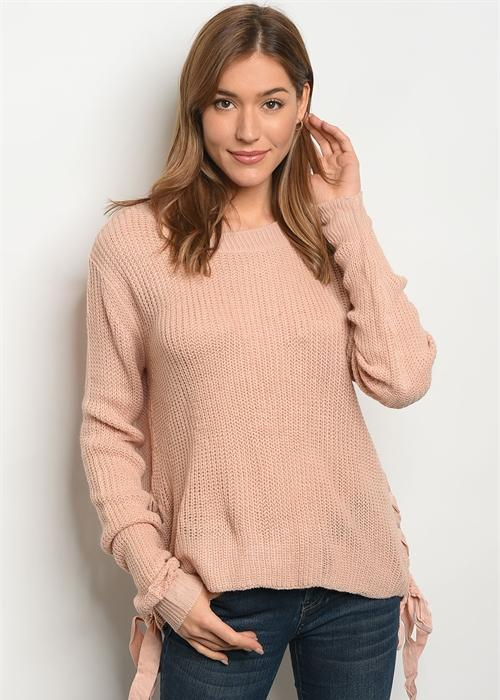 Angelina side lace up sweater- Rose
