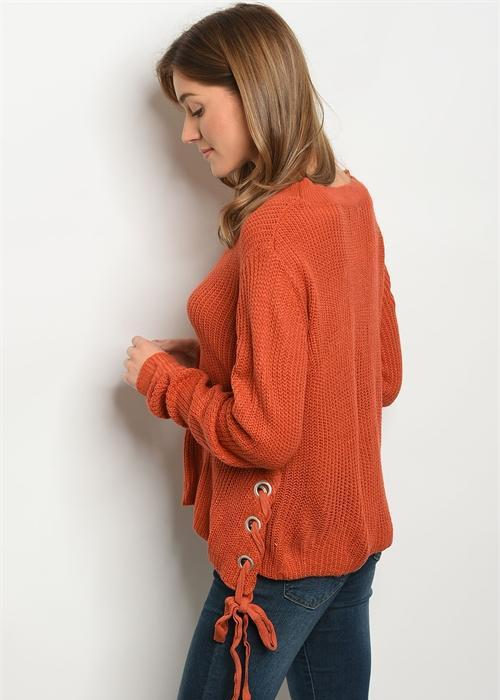 Angelina side lace up sweater- Rust