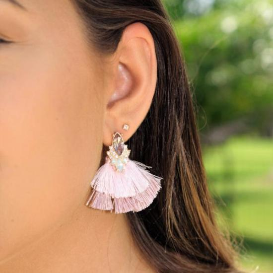 Rose tassel earrings