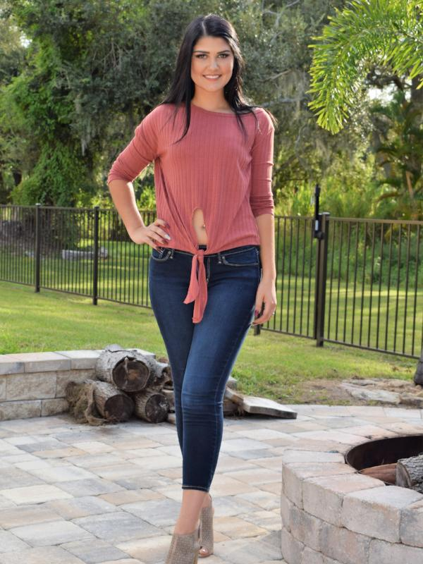Reese tie knot tee- Mauve