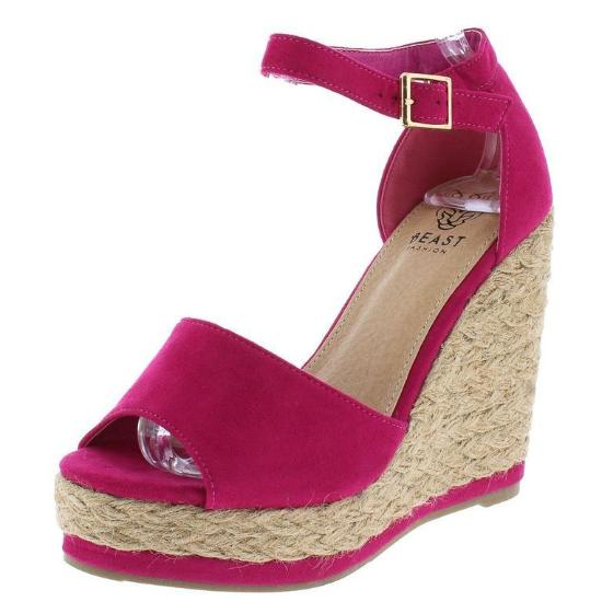 Fuchsia ankle strap wedge