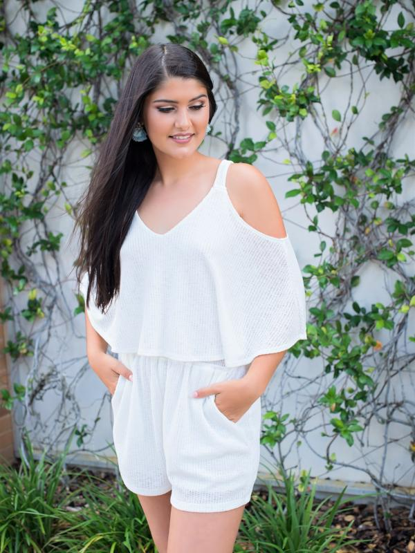 Desiree knit romper- white