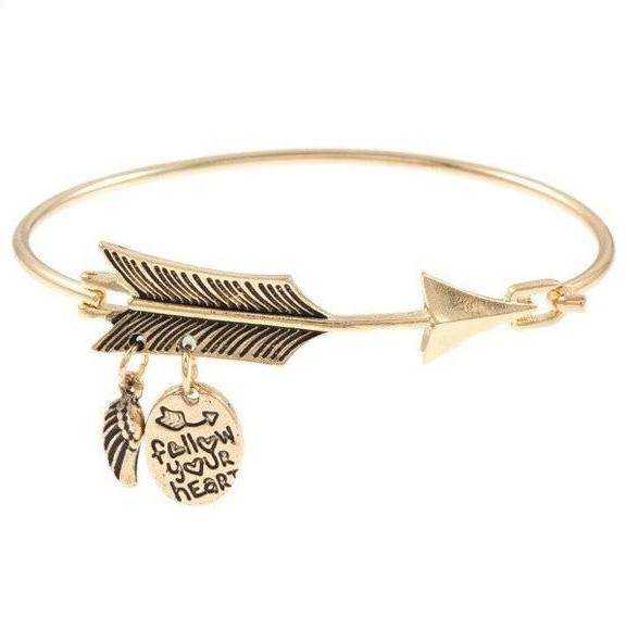 Follow your heart bangle-gold