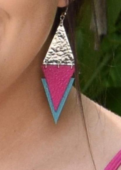 Pink/Teal earrings