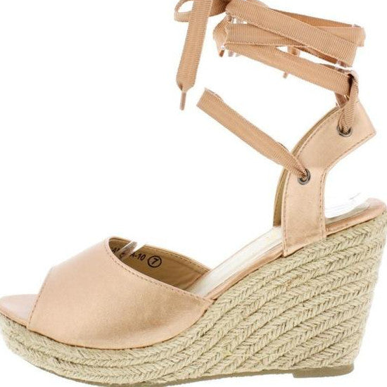 Amelia wrap wedge - Champagne