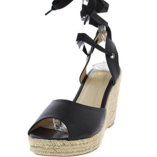 Amelia wrap wedge-Black