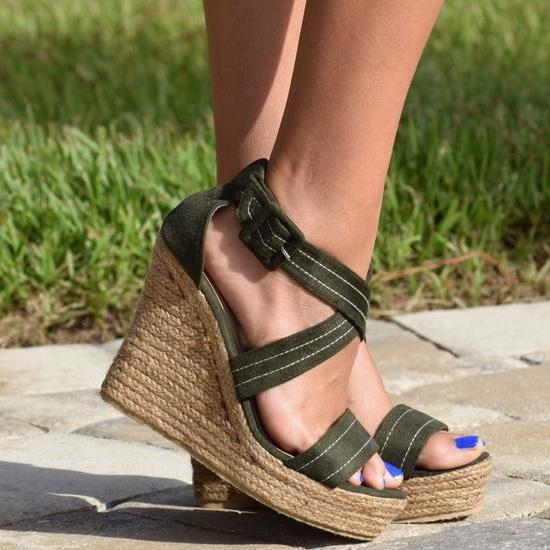 Cami Wedge - Olive