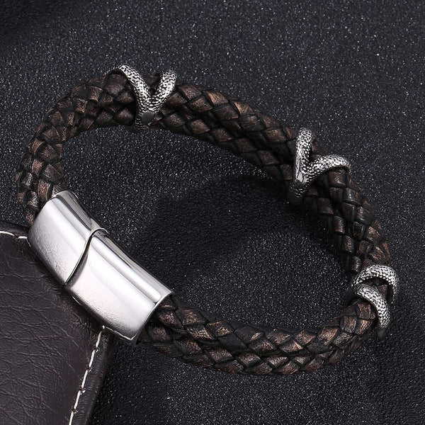 Leather Bracelet Dragon Claw - Black-Clickmylife