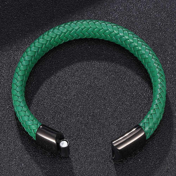 Single Leather Rope Bracelet - Green
