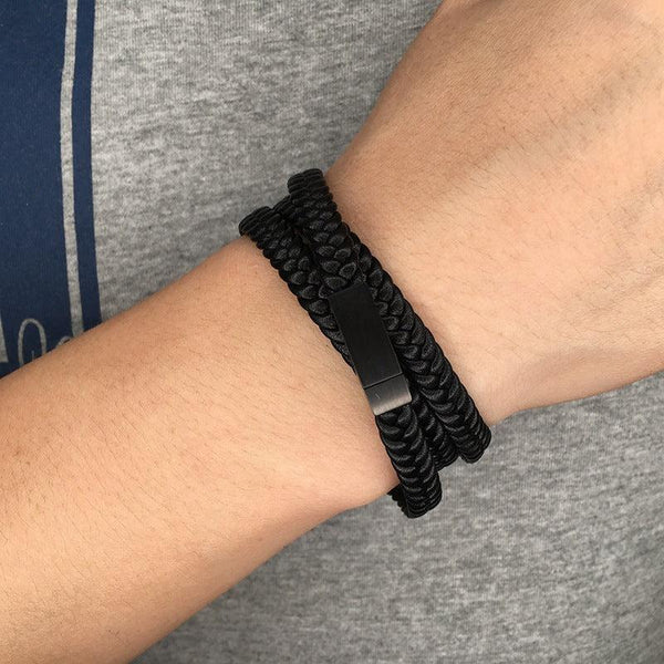 Multistrand Woven Leather Cord Bracelet - Black-Clickmylife