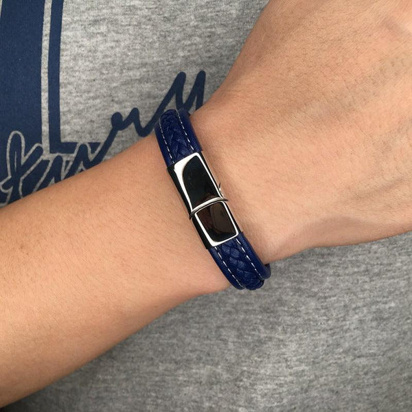 Silver Clasp Single Retro Leather Bracelet - Blue-Clickmylife