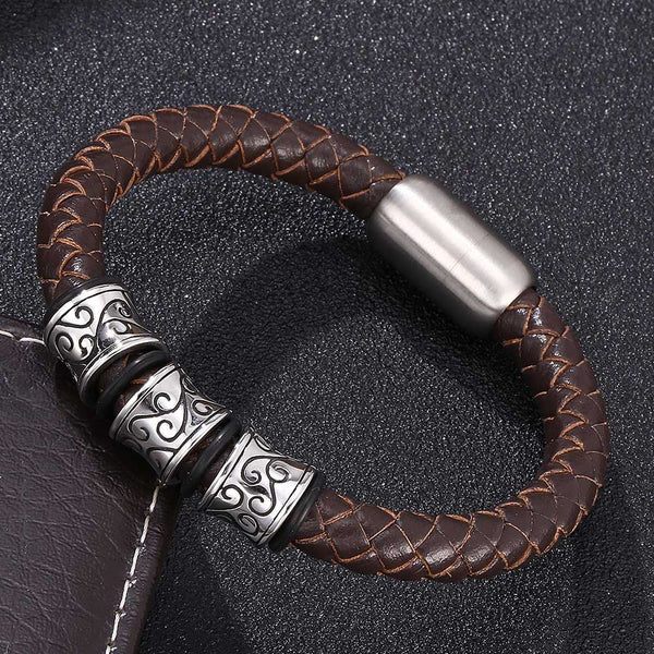 Wave Carved Stainless Steel Braided Leather Rope Bracelet - Brown-Clickmylife