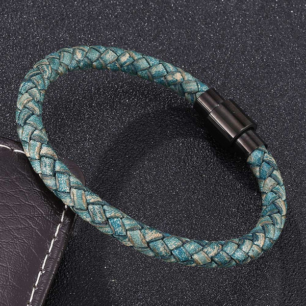 Single Strand Braided Leather Rope Bracelet - Green-Clickmylife