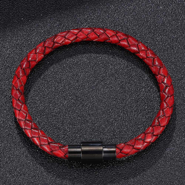 Single Strand Braided Leather Rope Bracelet - Red-Clickmylife