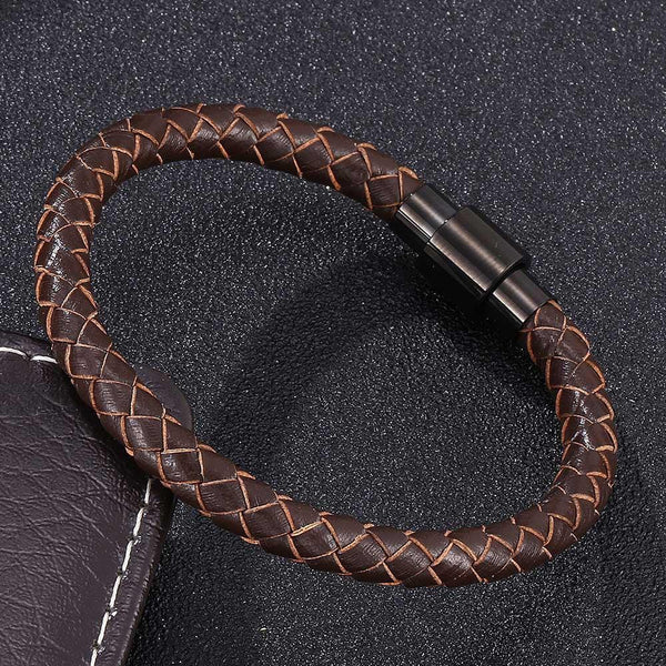 Single Strand Braided Leather Rope Bracelet - Brown-Clickmylife