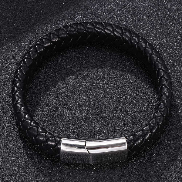 Silver Clasp Single Braided Leather Bracelet - Black-Clickmylife