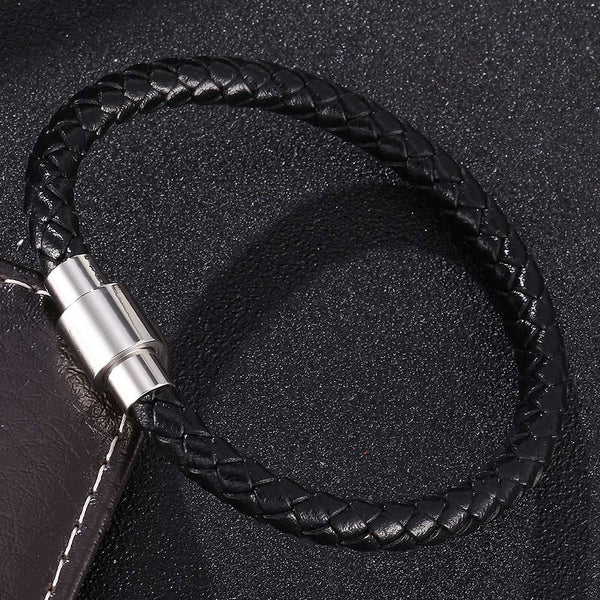 Single Strand Braided Leather Rope Bracelet - Black-Clickmylife