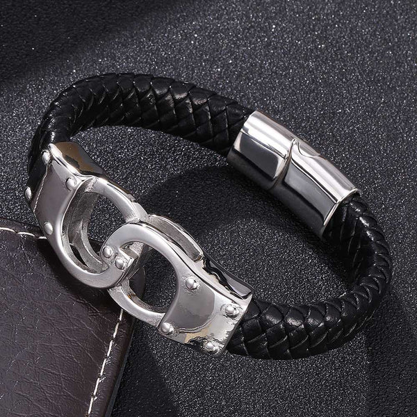 Silver Clasp Handcuffs Braided Leather Bracelet - Black-Clickmylife