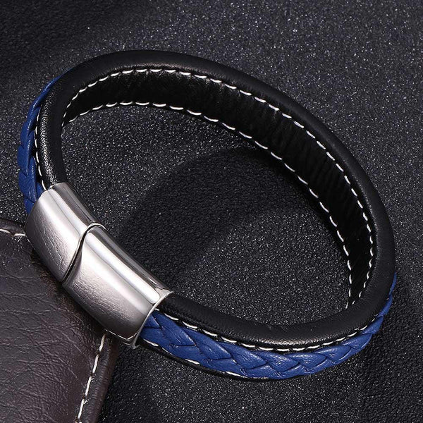 Silver Clasp Single Retro Leather Bracelet - Blue & Black-Clickmylife
