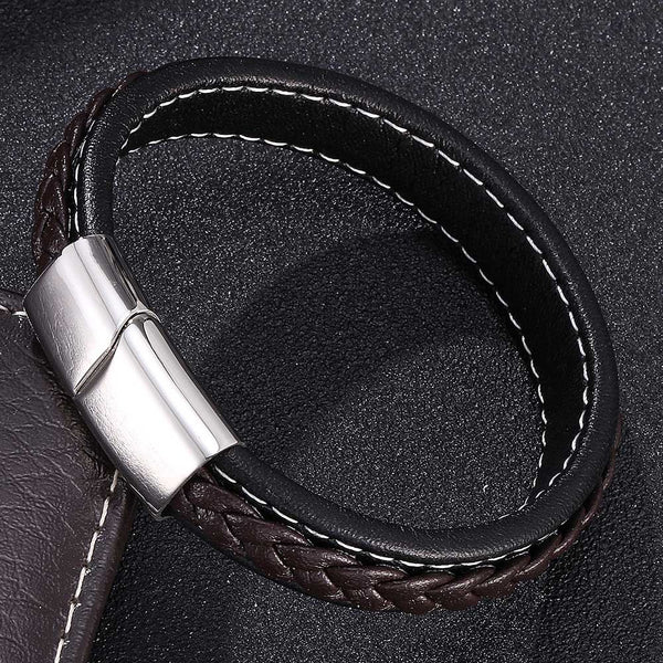 Silver Clasp Single Retro Leather Bracelet - Brown-Clickmylife