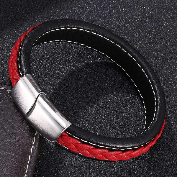 Silver Clasp Single Retro Leather Bracelet - Red & Black-Clickmylife