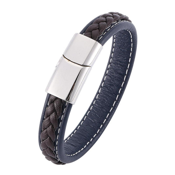 Silver Clasp Single Retro Leather Bracelet - Brown & Blue-Clickmylife