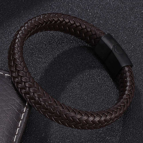 Single Braided Leather Bracelet - Brown-Clickmylife