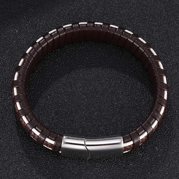 Dash Line Braided Leather Bracelet for Men - Brown & White-Clickmylife
