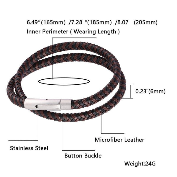 Silver Clasp Woven Leather Rope Bracelet - Black & Brown-Clickmylife